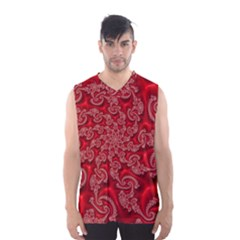 Fractal Art Elegant Red Men s Basketball Tank Top