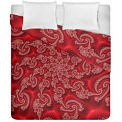 Fractal Art Elegant Red Duvet Cover Double Side (california King Size)