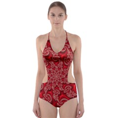 Fractal Art Elegant Red Cut-Out One Piece Swimsuit