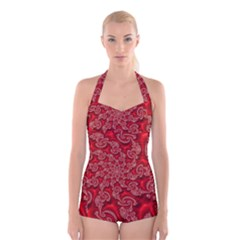 Fractal Art Elegant Red Boyleg Halter Swimsuit