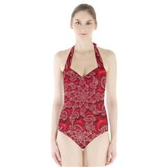 Fractal Art Elegant Red Halter Swimsuit