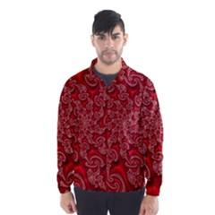 Fractal Art Elegant Red Wind Breaker (Men)