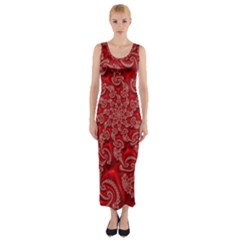Fractal Art Elegant Red Fitted Maxi Dress