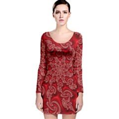 Fractal Art Elegant Red Long Sleeve Velvet Bodycon Dress