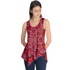 Fractal Art Elegant Red Sleeveless Tunic