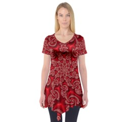 Fractal Art Elegant Red Short Sleeve Tunic