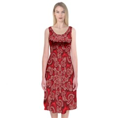 Fractal Art Elegant Red Midi Sleeveless Dress