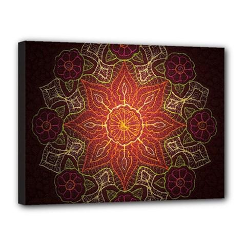 Floral Kaleidoscope Canvas 16  x 12