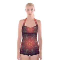 Floral Kaleidoscope Boyleg Halter Swimsuit