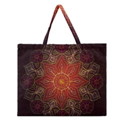 Floral Kaleidoscope Zipper Large Tote Bag