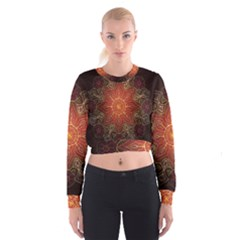 Floral Kaleidoscope Women s Cropped Sweatshirt