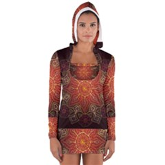 Floral Kaleidoscope Women s Long Sleeve Hooded T-shirt