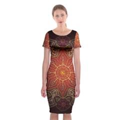 Floral Kaleidoscope Classic Short Sleeve Midi Dress