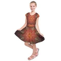 Floral Kaleidoscope Kids  Short Sleeve Dress