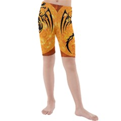 Dragon Fire Monster Creature Kids  Mid Length Swim Shorts