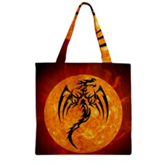 Dragon Fire Monster Creature Zipper Grocery Tote Bag