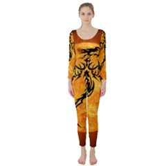 Dragon Fire Monster Creature Long Sleeve Catsuit