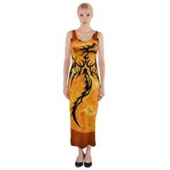 Dragon Fire Monster Creature Fitted Maxi Dress
