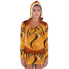 Dragon Fire Monster Creature Women s Long Sleeve Hooded T-shirt