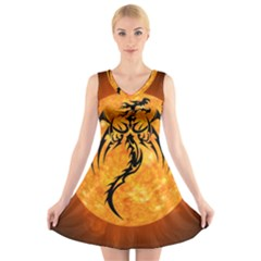 Dragon Fire Monster Creature V Neck Sleeveless Skater Dress