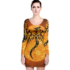 Dragon Fire Monster Creature Long Sleeve Velvet Bodycon Dress