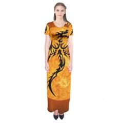 Dragon Fire Monster Creature Short Sleeve Maxi Dress