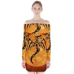 Dragon Fire Monster Creature Long Sleeve Off Shoulder Dress