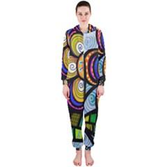 Folk Art Flower Hooded Jumpsuit (Ladies)