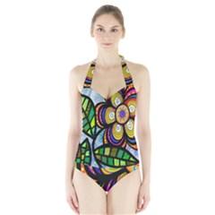 Folk Art Flower Halter Swimsuit