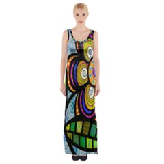 Folk Art Flower Maxi Thigh Split Dress