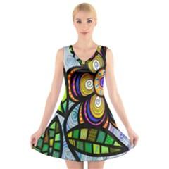 Folk Art Flower V Neck Sleeveless Skater Dress