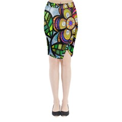 Folk Art Flower Midi Wrap Pencil Skirt