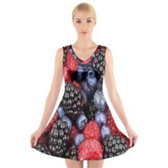 Forest Fruit V Neck Sleeveless Skater Dress