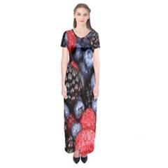 Forest Fruit Short Sleeve Maxi Dress