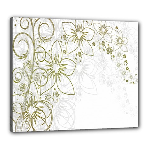 Flowers Background Leaf Leaves Canvas 24  x 20