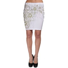 Flowers Background Leaf Leaves Bodycon Skirt