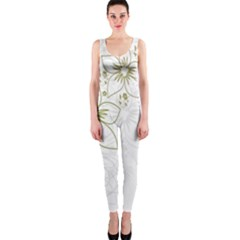 Flowers Background Leaf Leaves Onepiece Catsuit