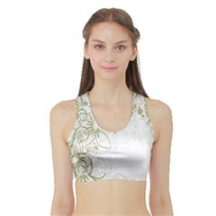 Flowers Background Leaf Leaves Sports Bra With Border