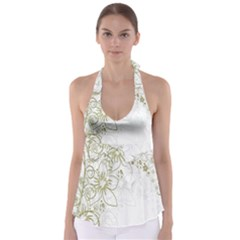 Flowers Background Leaf Leaves Babydoll Tankini Top