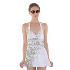 Flowers Background Leaf Leaves Halter Swimsuit Dress