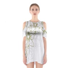 Flowers Background Leaf Leaves Shoulder Cutout One Piece