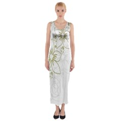 Flowers Background Leaf Leaves Fitted Maxi Dress