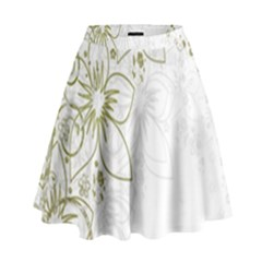 Flowers Background Leaf Leaves High Waist Skirt