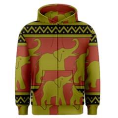 Elephant Pattern Men s Zipper Hoodie