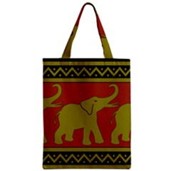 Elephant Pattern Zipper Classic Tote Bag