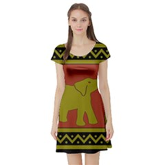 Elephant Pattern Short Sleeve Skater Dress