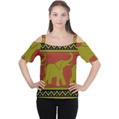 Elephant Pattern Women s Cutout Shoulder Tee