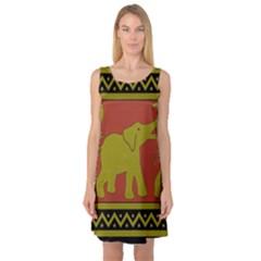 Elephant Pattern Sleeveless Satin Nightdress