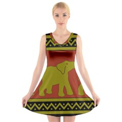 Elephant Pattern V-Neck Sleeveless Skater Dress