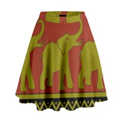 Elephant Pattern High Waist Skirt